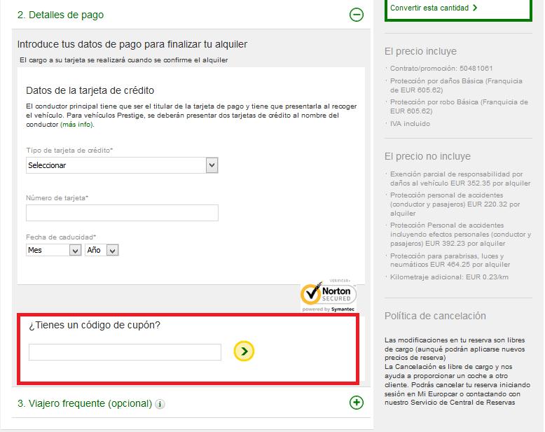 Descuento Código Promocional Europcar