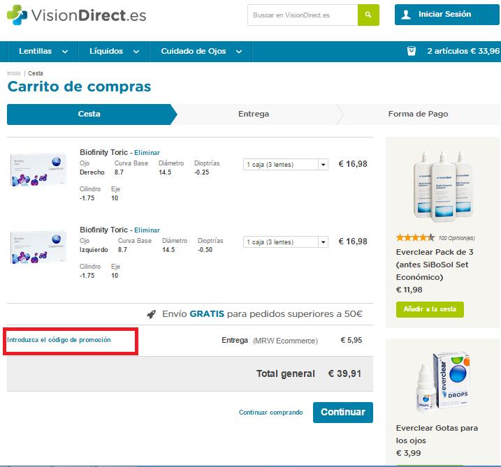 Descuento Código Promoción Vision Direct