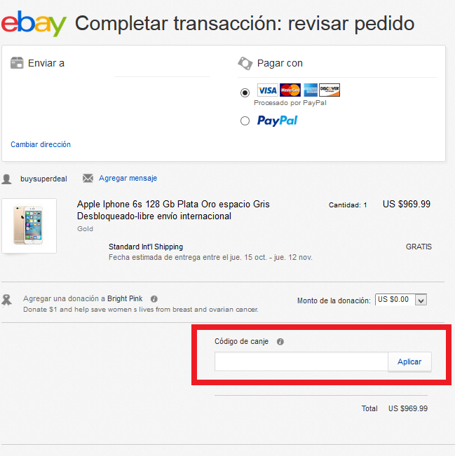 Descuento Código Descuento eBay