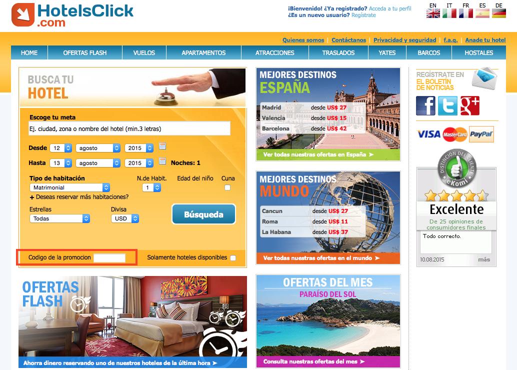 Descuento Código Descuento Hotelsclick
