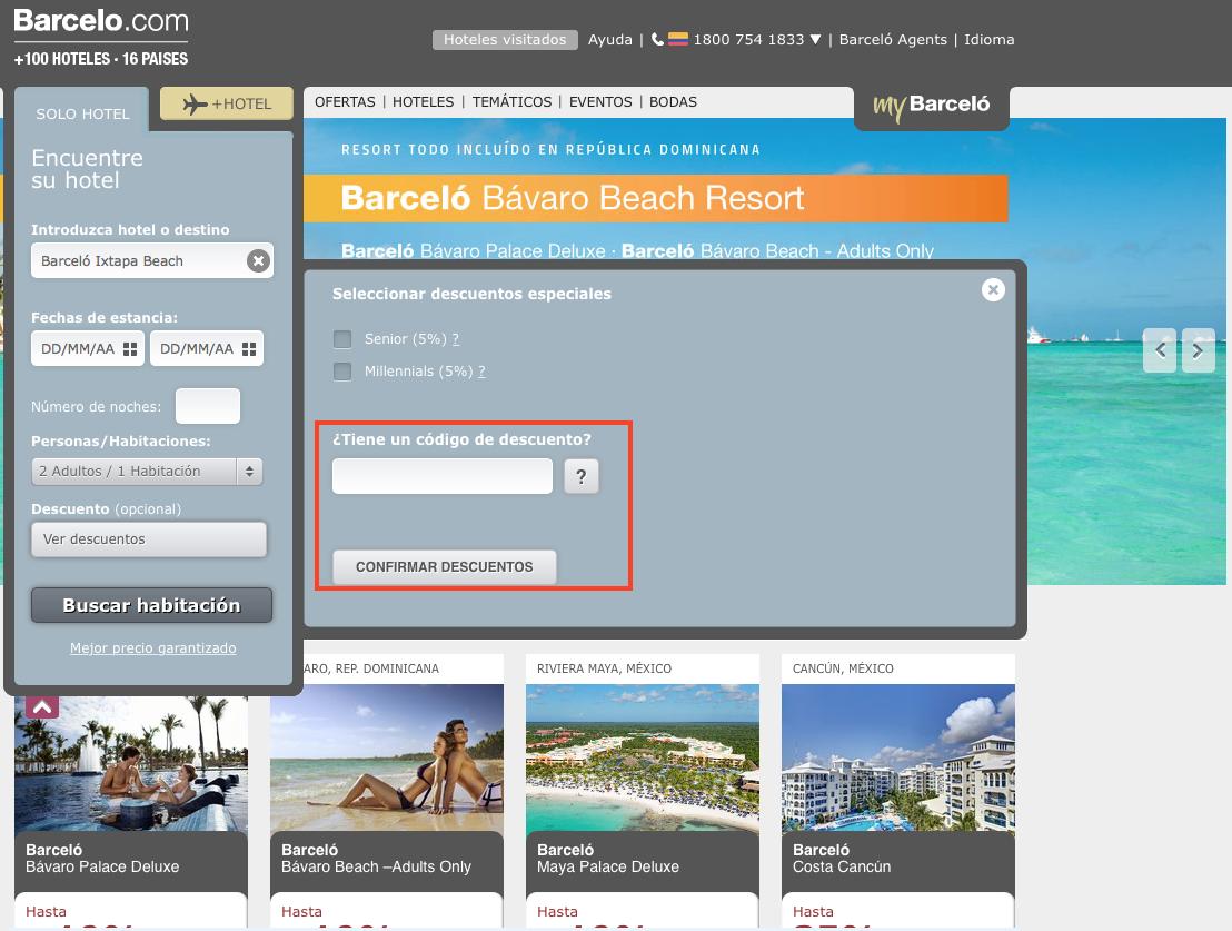 Descuento Código Descuento Hoteles Barceló México