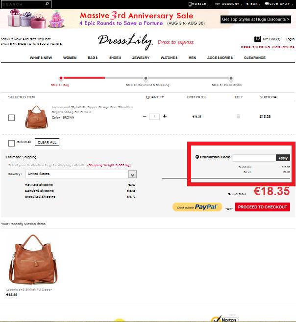 Descuento Promotion Code Dresslily