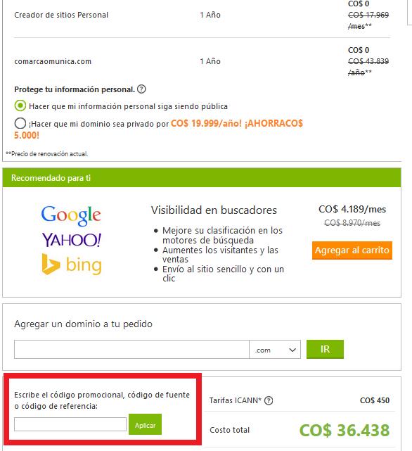 Descuento Código Promocional GoDaddy México