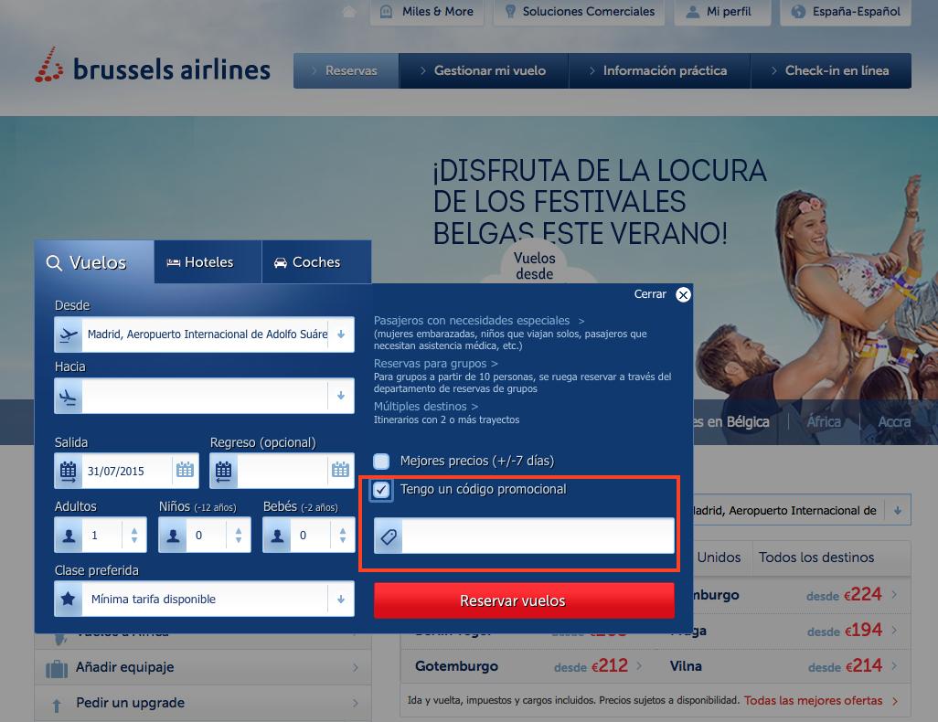 Descuento Código Promocional Brussels Airlines