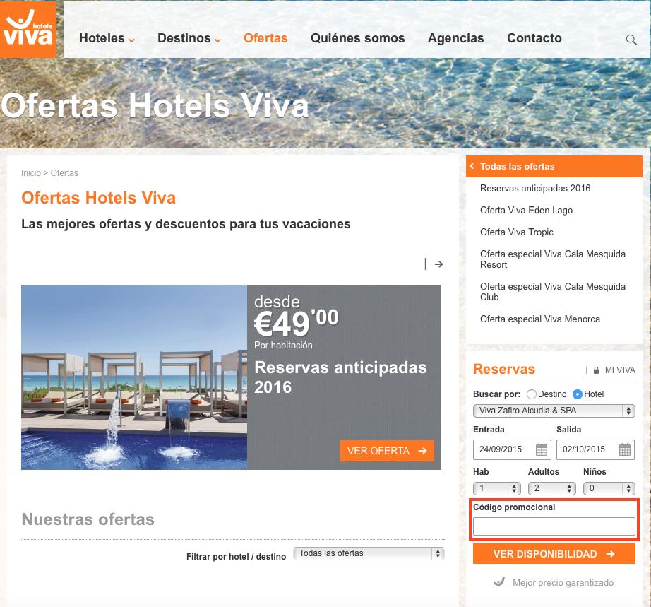 Descuento Código Promocional Viva Hoteles