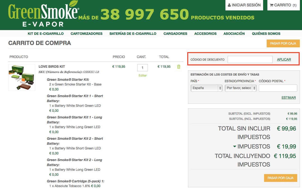 Descuento Código Descuento Green Smoke