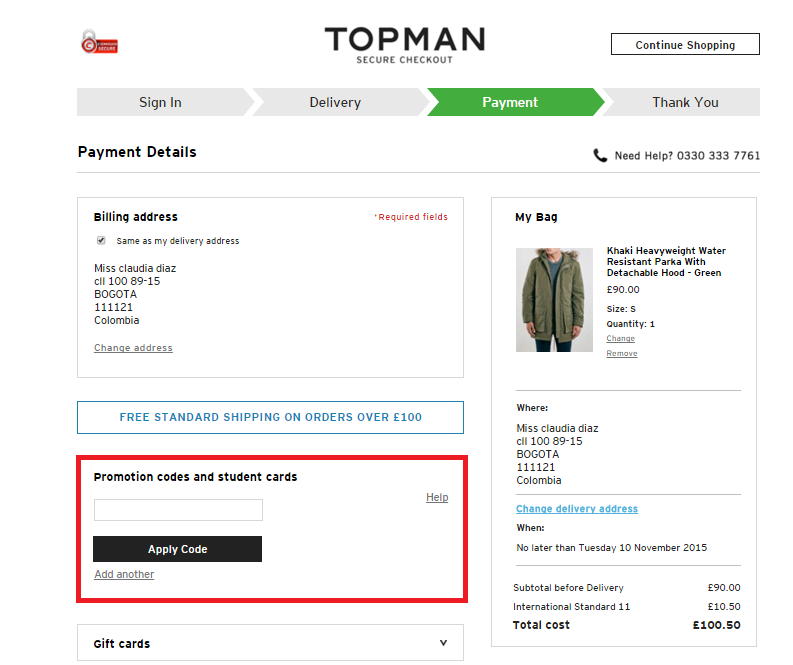 Descuento Promotional Code Topman