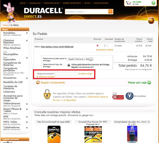 Descuento Código Promoción Duracell