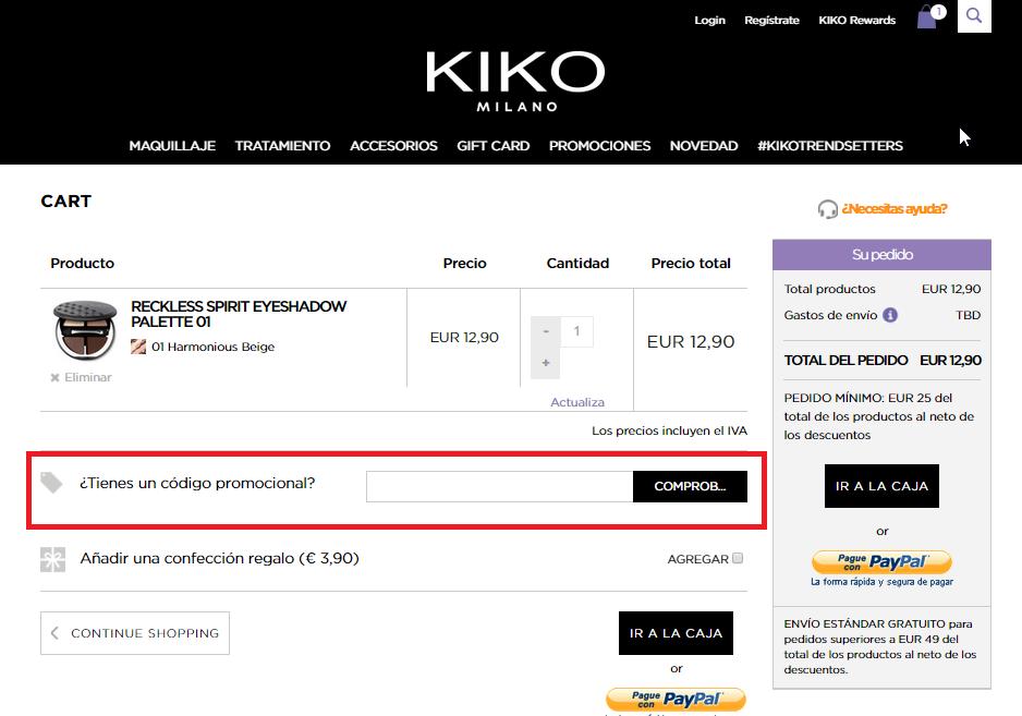 Descuento Código Promocional Kiko