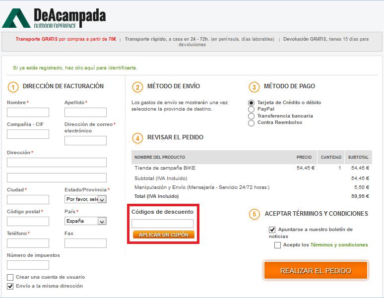Descuento Código descuento Deacampada.com