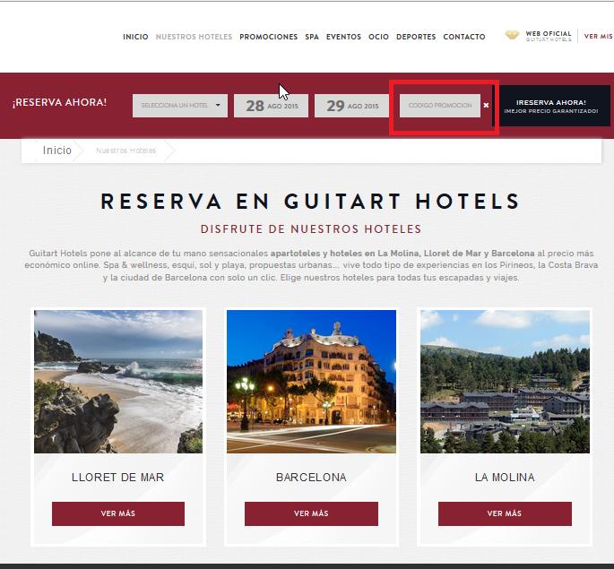 Descuento Código Promocional Guitart Hotels
