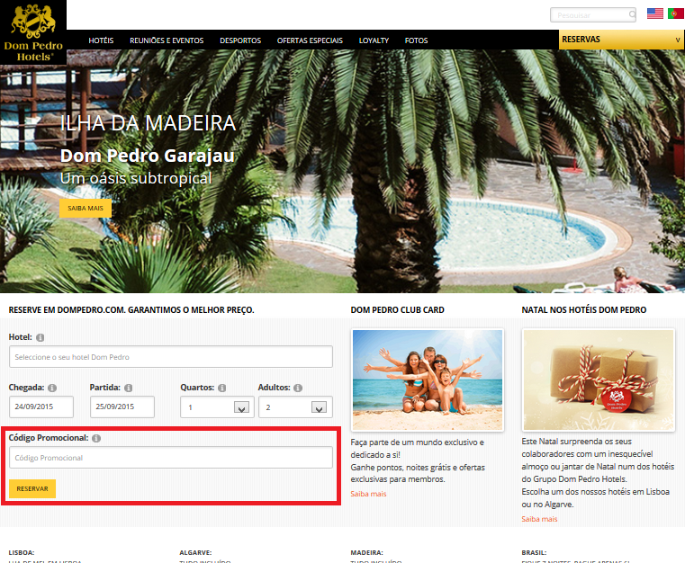Descuento Promotional Code Dom Pedro Hotels