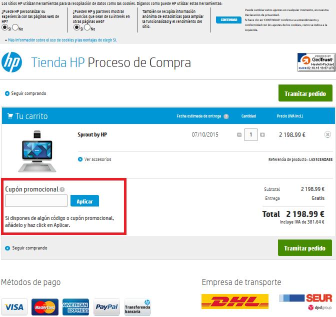 Descuento Cupon Promocional HP