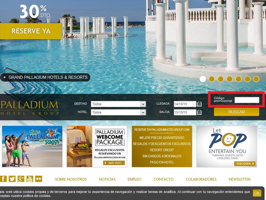 Descuento Código Promocional Palladium Hotel Group