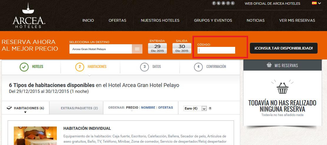 Descuento Código Promoción Arcea Hoteles