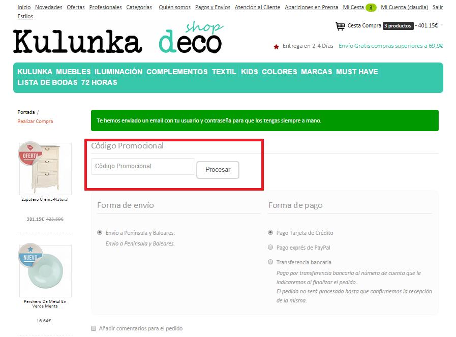 Descuento Código Promociónal Kulunka Deco Shop