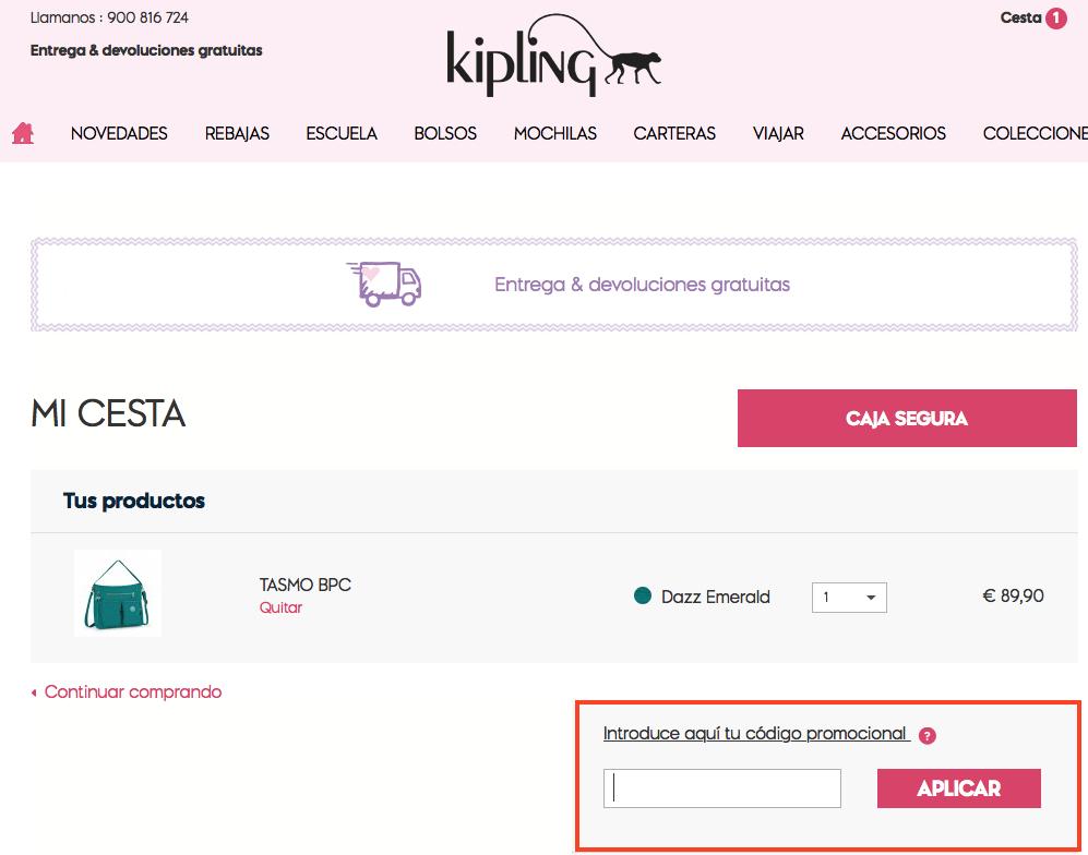 Descuento Código Promocional Kipling