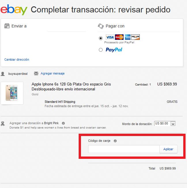 Descuento Cupón eBay