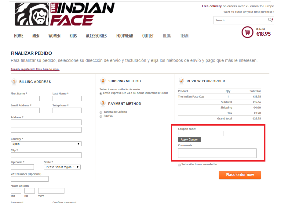 Descuento Código Descuento TheIndianFace.com