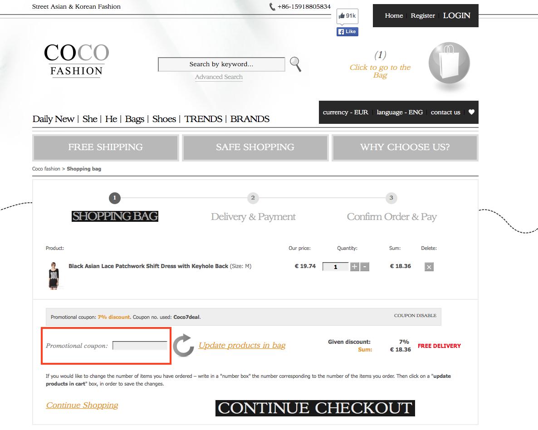 Descuento Código Descuento Coco-Fashion