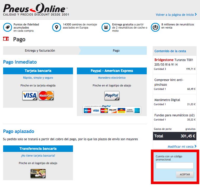 Descuento Código Promocional Pneus Online