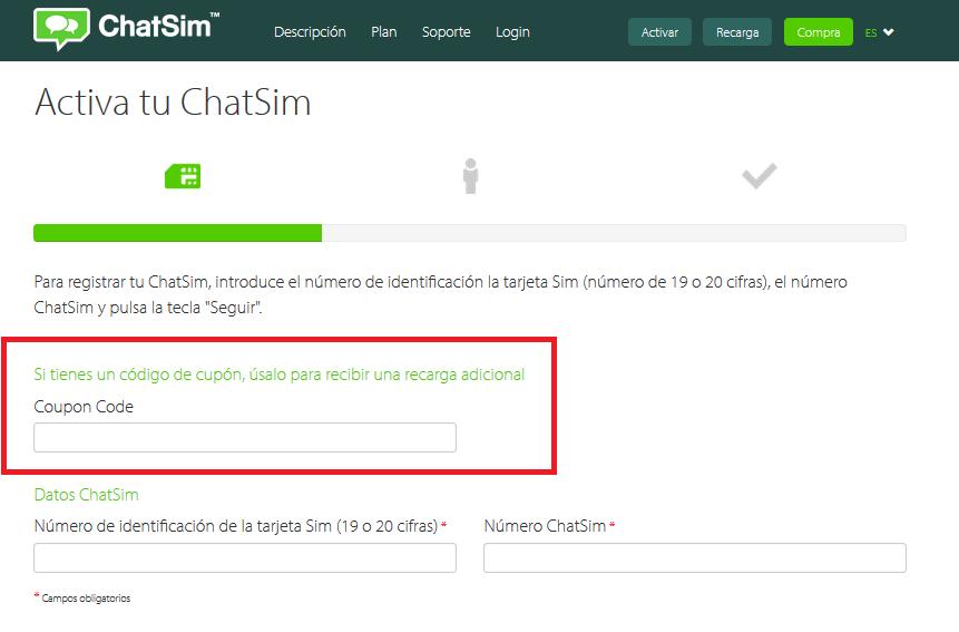 Descuento Cupón Código ChatSim