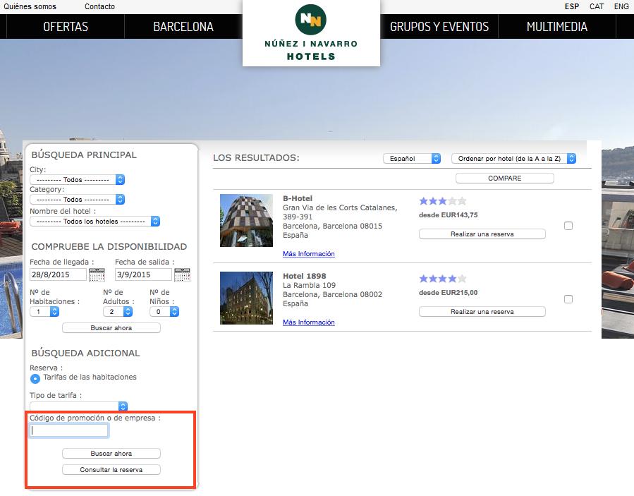 Descuento Código promocional NN Hotels