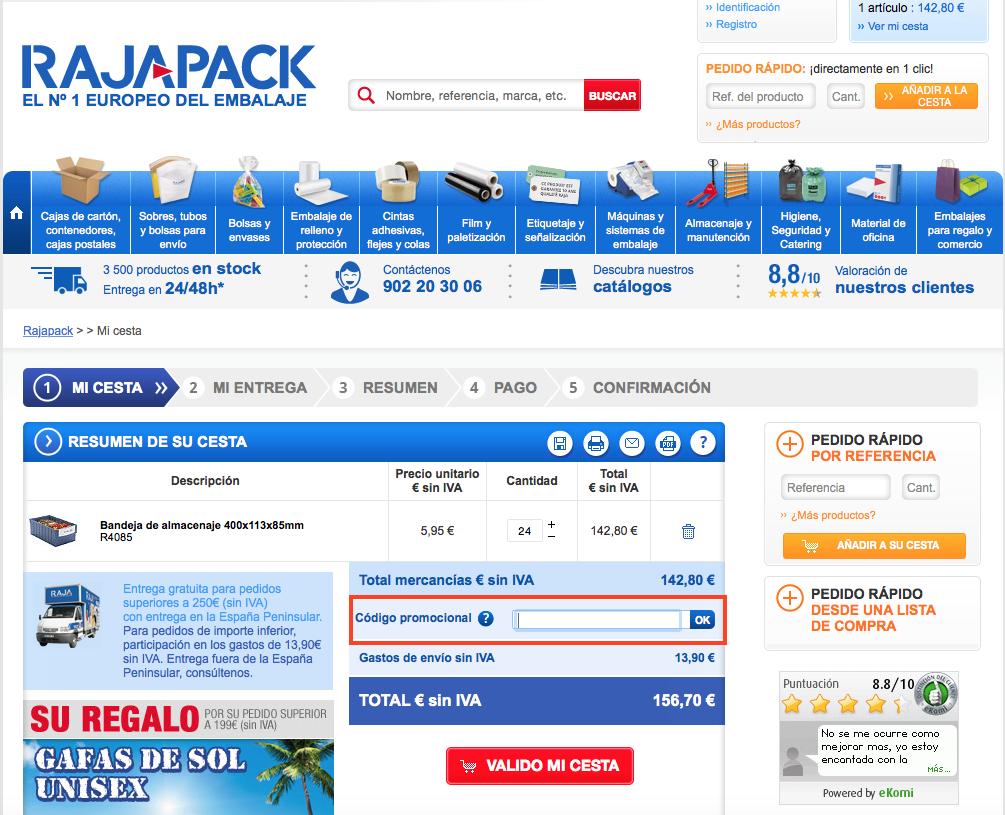Descuento Código promocional Rajapack