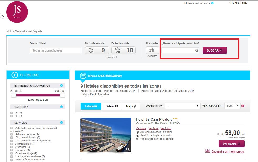 Descuento Código Promoción JS Hotels