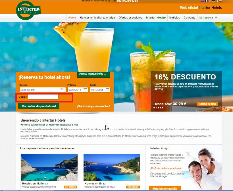 Descuento Código Promoción Intertur Hotels