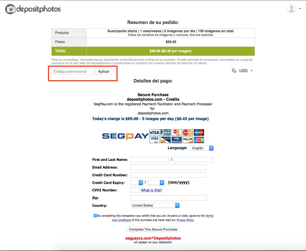 Descuento Código Promocional Depositphotos