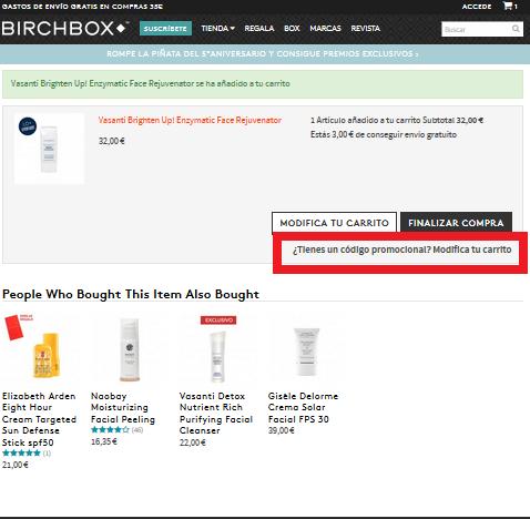 Descuento Código Promocional Birchbox