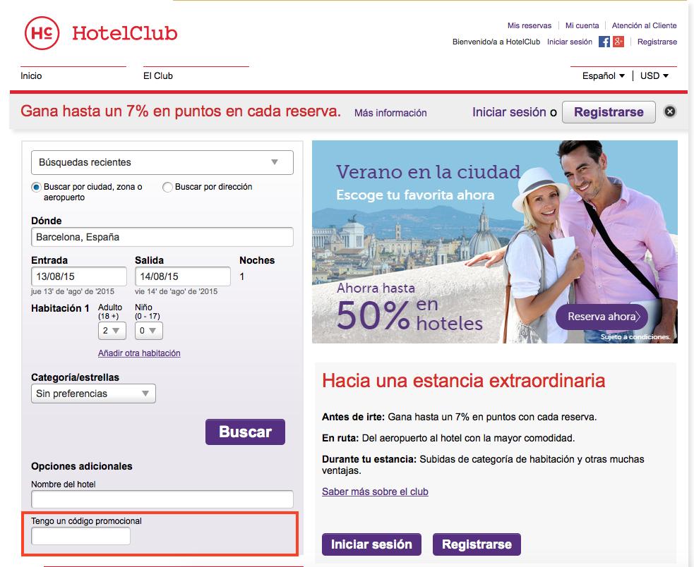 Descuento Código Promocional HotelClub