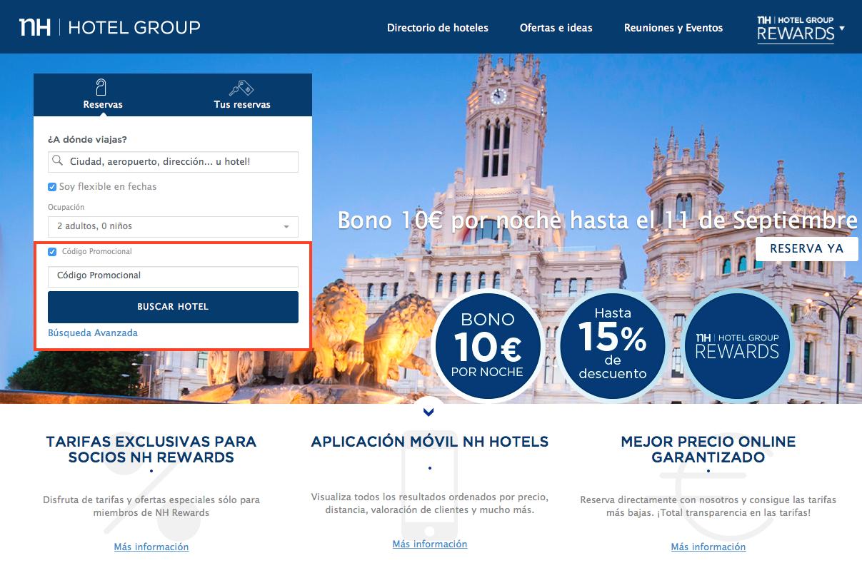 Descuento Código Promocional NH Hoteles