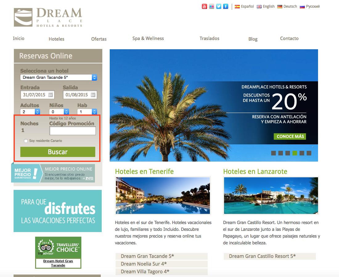 Descuento Código Promocional Dream Place Hotels