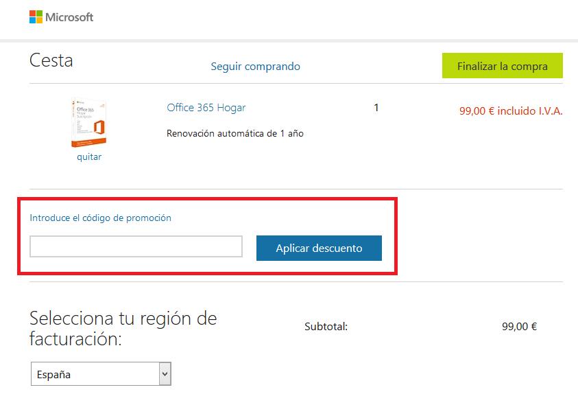 Descuento Código Promocional Microsoft Store